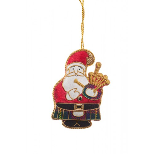 Bagpiping Father Christmas Ornament