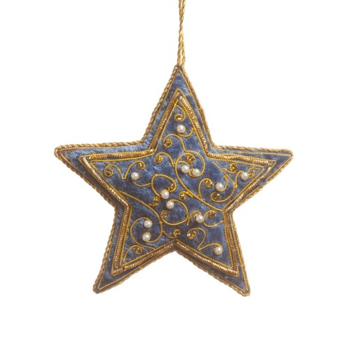 Blue Velvet Star Christmas Ornament