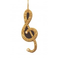 Black & Gold Treble Clef  Christmas Decoration