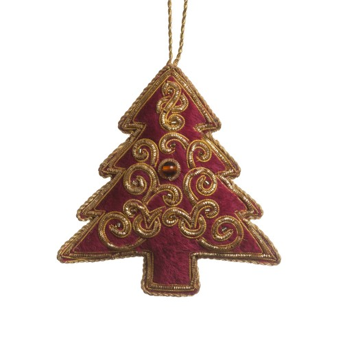 Maroon and Gold Velvet Christmas Tree Decoration