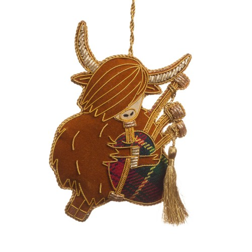 Bagpiping Highland Cow Christmas Tree Decoration