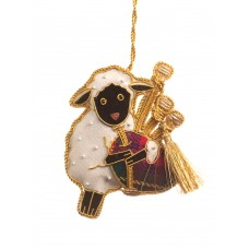 Bagpiping Sheep Christmas Ornament
