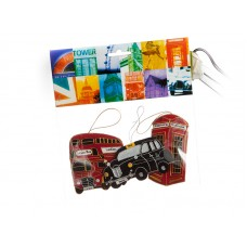 London Headercard Set- Bus, Telephone, Taxi Christmas Decorations