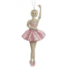 Pink Ballerina with Blonde Hair Christmas Decoration