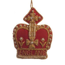 Red and Gold Crown with England  Christmas Decoration