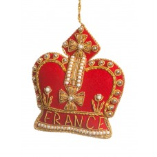 Red Crown with France Christmas Tree Ornament