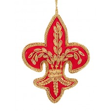 Red and Gold Fleur de Lis  Christmas Decoration