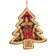 Tartan Tree with Pearl Border  Christmas Decoration