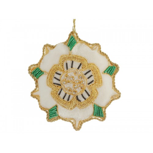 White Velvet Tudor Rose  Christmas Ornament