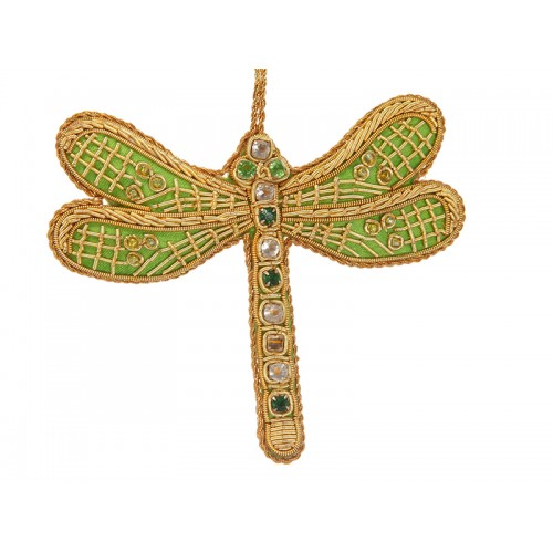 Lime Green Satin Dragonfly Decoration