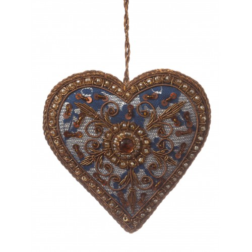 Navy Lace Heart Christmas Ornament