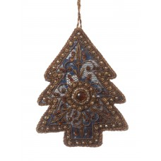 Navy Lace Tree Christmas Ornament