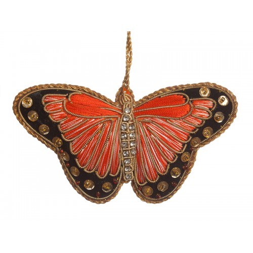 Orange Satin Butterfly Decoration