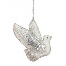 Silver Jewel Dove Christmas Decoration