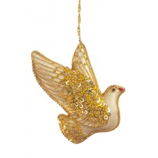 Gold Jewel Dove Christmas Decoration