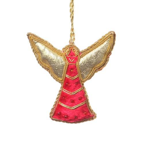 Small Red Scallop Wing Angel Christmas Ornament