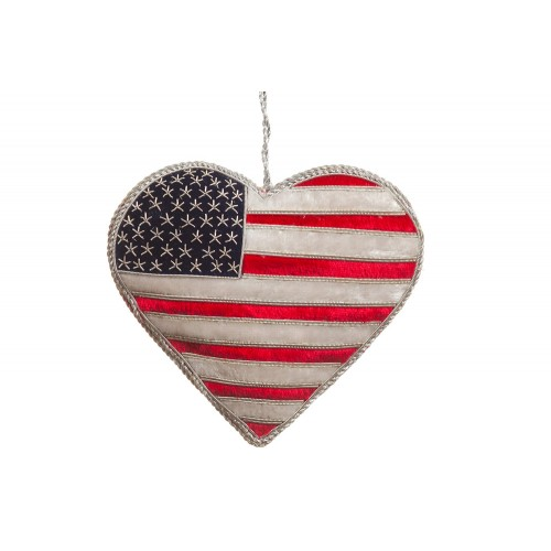 Small Velvet USA Flag Heart Christmas Ornament