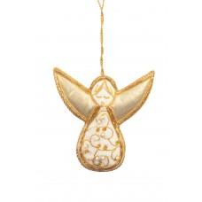 Ivory Velvet Flourish Angel Christmas Decoration