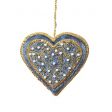 Steel Blue Heart with Pearls Christmas Ornament