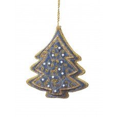 Steel Blue Tree with Pearls Christmas Ornament