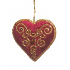 Maroon and Gold Velvet Christmas Heart Decoration