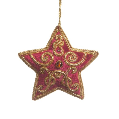Maroon and Gold Velvet Christmas Star Decoration