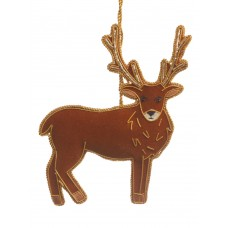 Stag with Tartan Reverse Christmas Decoration